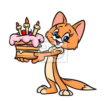 Bild Kuchen Katze Geburtstag Cartoon Illustration Isoliert Bild Tier Figur
