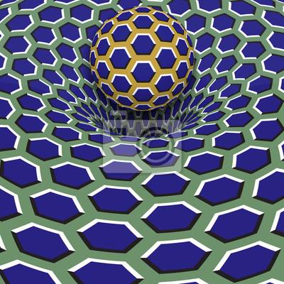 Kugel über blauem Sechseck Loch. Optische Bewegung Illusion Illustration.