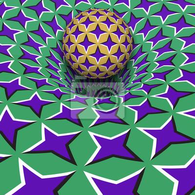 Kugel über lila Sternen Loch. Optische Bewegung Illusion Illustration.