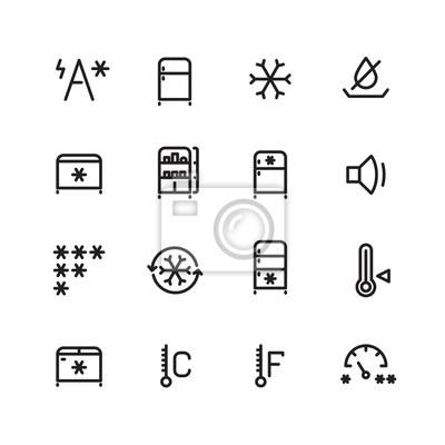 Kuhlschrank Gefrierschrank Eismaschine Vektor Dunne Linie Symbole