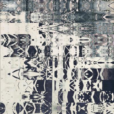 Bild Kunst abstraktes geometrisches horizontales Streifenmuster, Papier strukturierter einfarbiger Hintergrund in den Farben Weiß, Schwarzes und Blaugrau; vertikale nahtlose Verzierung