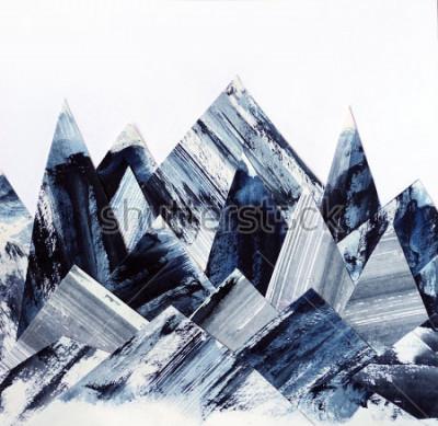 Bild Kunst Hintergrund. Tintenbeschaffenheit auf Papier. Abstrakte Berge Collage