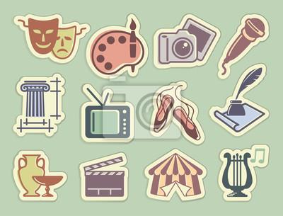 Kunst Icons auf Aufklebern