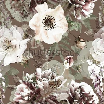 Bild Kunst Vintage Bleistift buntes nahtloses mit Blumenmuster mit weißen Rosen und Pfingstrosen auf grünem Hintergrund. Doppelbelichtung und Bokeh-Effekt