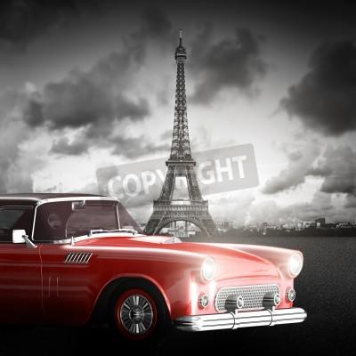 Bild Künstlerisches Bild von Eiffelturm, Paris, Frankreich und roten Retro-Auto.