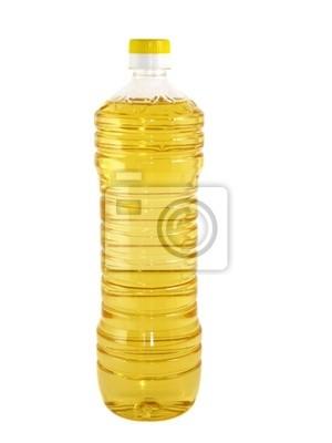 Bild Kunststoff-Flasche mit Sonnenblumenöl auf weißem Hintergrund