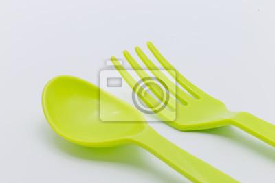 Kunststoff-Gabel und Löffel grüne Farbe
