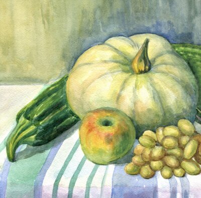 Bild Kürbis, Apfel, Zucchini, Trauben, Stillleben. Aquarellmalerei