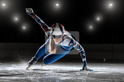 Bild kurze Strecke. Sportler auf Eis