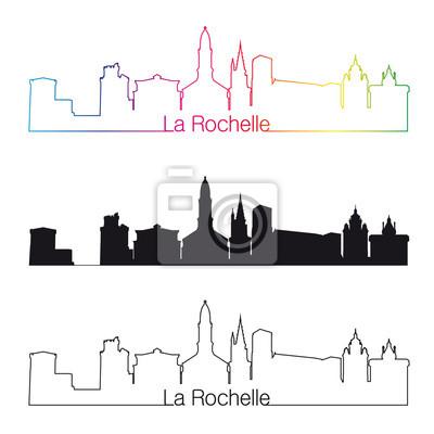 Bild La Rochelle skyline linear style with rainbow