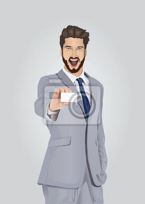 Lächelnd gut gekleidete Geschäftsmann mit Visitenkarte