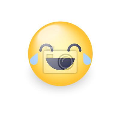 Lachender Smiley Mit Tränen Der Freude Glückliches Cartoon Emoticon