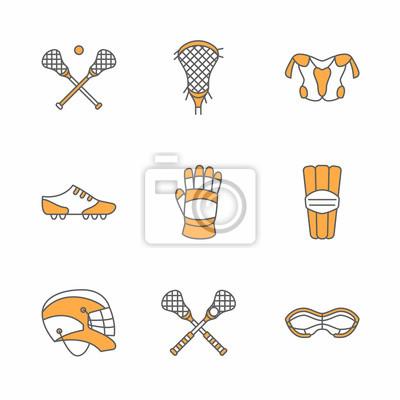 Lacrosse sport spiel vektor zeile symbole. ball, stick, helm ...