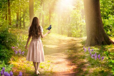 Bild Lady girl with long hair in dress with bird in hand walking in fantasy enchanted fairy tale spring forest with blooming flowers and sun rays, mysterious road goes through trees in magical elvish wood