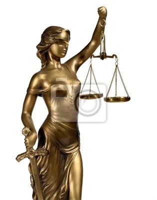 Lady of Justice auf weißem Hintergrund