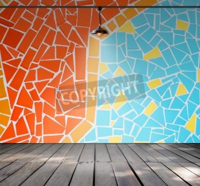 Lamp In Leerer Raum Mit Bunten Mosaik Fliesen Wand Und