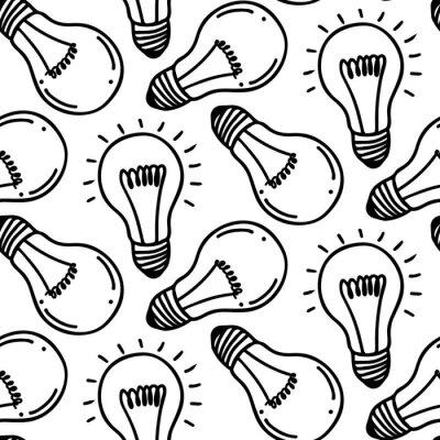 Lampe glühbirne hand gezeichnet nahtlose muster design. glühbirne ...