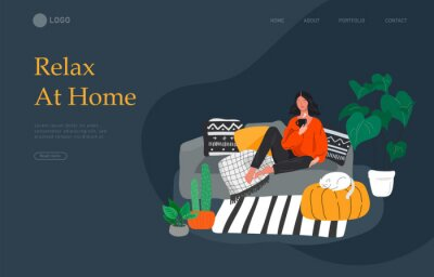 Bild Landing page template with girl sitting and resting on the couch with a cat and coffee. Daily life and everyday routine scene by young woman in scandinavian style cozy. Cartoon vector