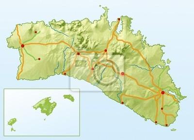 Insel Menorca Karte.Bild Landkarte Von Menorca Ohne Text
