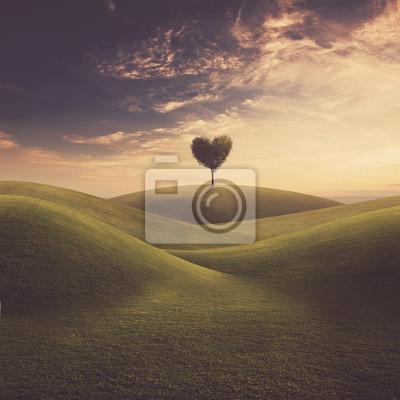Landschaft mit Baum Herz