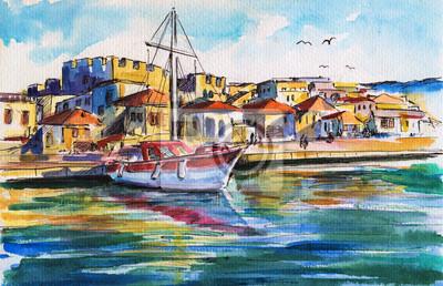 Landschaft mit dem Boot im Hafen