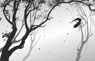 Bild Landschaft mit einer fliegenden Eule