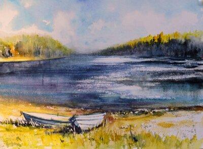 Bild Landschaft mit Fischerbooten auf Seeküste. Bild mit Wasserfarben erstellt.