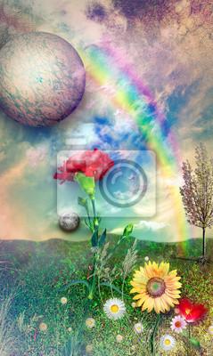 Landschaft mit Regenbogen und Blumen