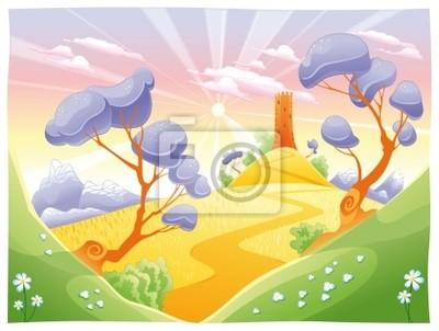 Landschaft mit Turm . Funny Cartoon und Vektor-Illustration.
