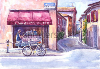Bild Landschaft. Straße in der alten Stadt. Italien. Aquarell-Skizze