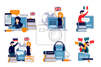Bild Language courses. Vector characters study different languages english italian chinese in training center concept illustrations. Study language distance, teaching course and training