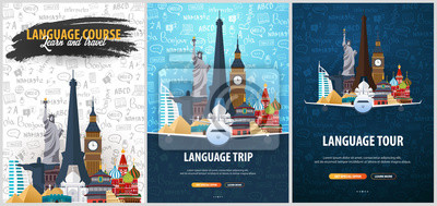 Bild Language trip, tour, travel. Learning Languages. Vector illustration with hand-draw doodle elements on the background.