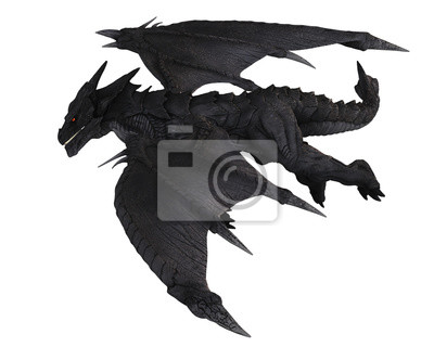 Large Black Dragon in Flight, Side View - fantasy illustration