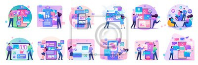 Bild Large set of mini concepts of teenagers work on smartphones, tablets, managing gadgets. Basis for web design and application design