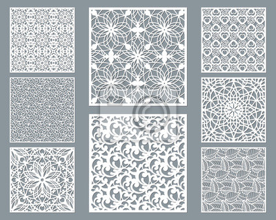Bild Laser cut decorative panel set with lace pattern, square ornamental templates collection for die cutting or wood carving, element for wedding invitation card. Cabinet screen.