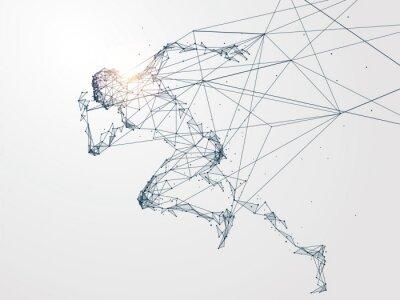 Bild Laufen Mann, Netzwerk-Verbindung verwandelt, Vektor-Illustration.
