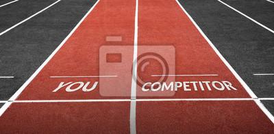 Bild Laufen Sie Schiene am Stadion mit Ihnen Wort und Konkurrenzwort