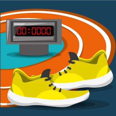 Laufschuhe Sport Wettbewerb Konzept, Vektor-Illustration