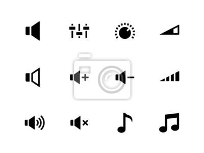 Lautsprechersymbole auf weißem Hintergrund. Lautstärkeregelung.