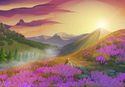 Bild Lavendel, Sommerabend Landschaft, Vektor-Hintergrund