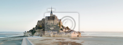 Bild Le Mont Saint Michel tidal island in beautiful twilight at dusk, Normandy, France shot from aerial perspective