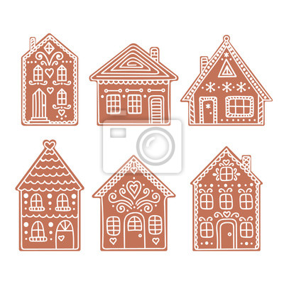 Braune Weihnachtskekse.Bild Lebkuchenhaus Satz Von Vektor Hand Gezeichnet Lebkuchen Häuser