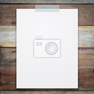 Bild leeren weißen Blatt Papier auf Holz Hintergrund