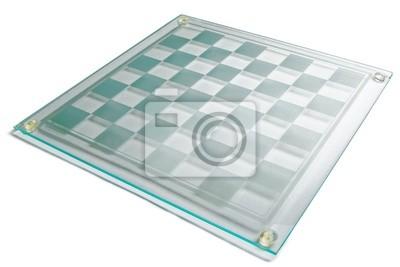 Leeres Glas Schachbrett auf einem weißen Hintergrund.