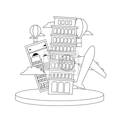 Pisa Karte.Bild Lehnender Turm Der Punktierten Form Von Pisa Mit Karte Und Flugzeug