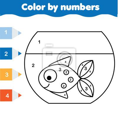 Lernspiel für kinder. malvorlage mit fischen im aquarium. farbe ...