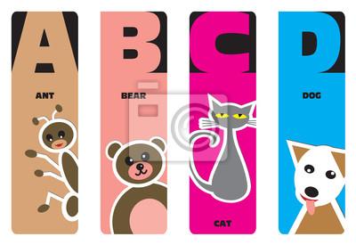Lesezeichen - Tier Alphabet A für Ameise, B für Bär, C für Katze, D
