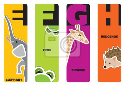 Lesezeichen - Tier Alphabet E für Elefanten, F für Frosch, G für gi