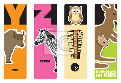 Lesezeichen - Tier Alphabet Y für Yak, Z für Zebra; für Kinder