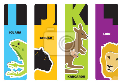 Lesezeichen - tieralphabet ich für Leguan, J für Jaguar, K für ka